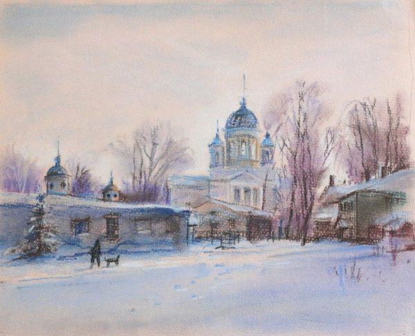 Зимний пейзаж на церковь в Лысково