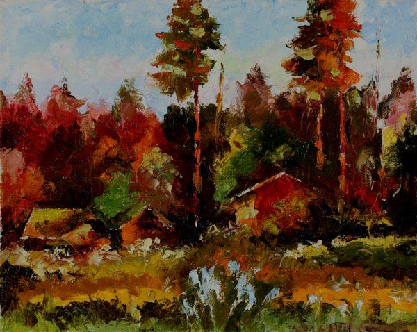 Лесной пейзаж масляными мазками