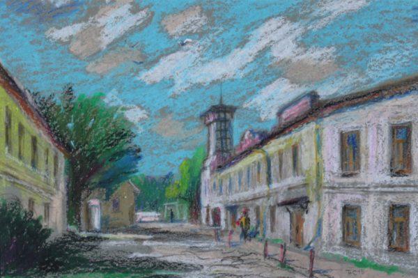 Рисунок масляной пастелью городской сюжет