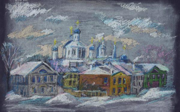 Рисунок Арзамаса масляной пастелью