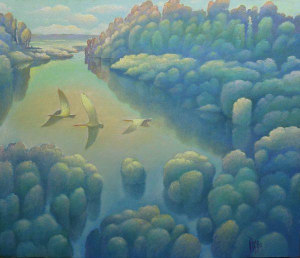 Картина с тремя лебедями
