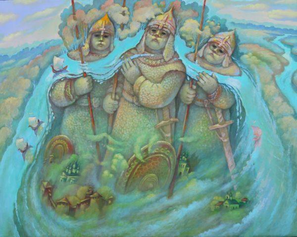 Три богатыря несут реку