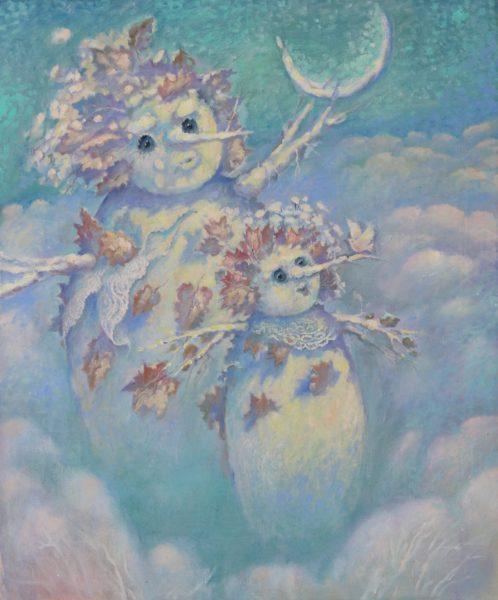 Два снеговика счастливы видеть рассвет