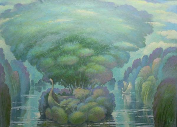 Картина для гостиной с лодкой