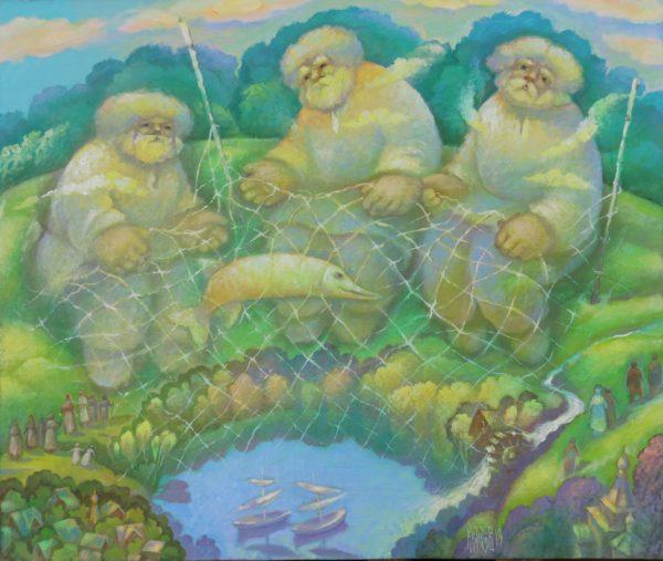 Три рыбака у озера Светлояр ловят рыбу