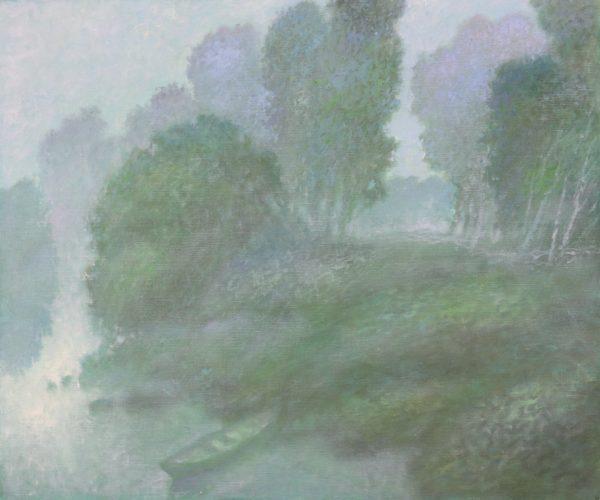 Туманное утро с лодкой