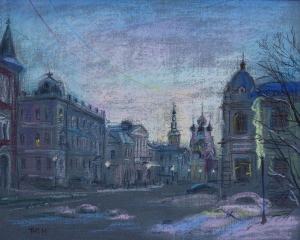 Зимняя Рождественская улица в Нижнем Новгороде
