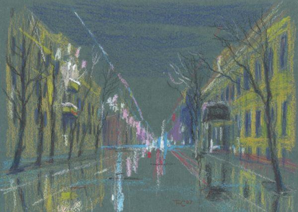 Картина пастелью, дождливая Варварка