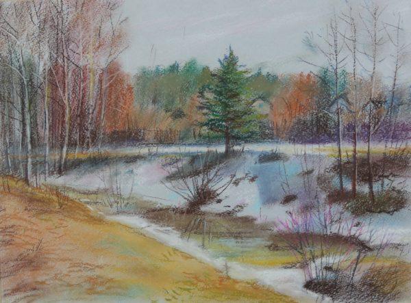 Весенний пейзаж пастелью